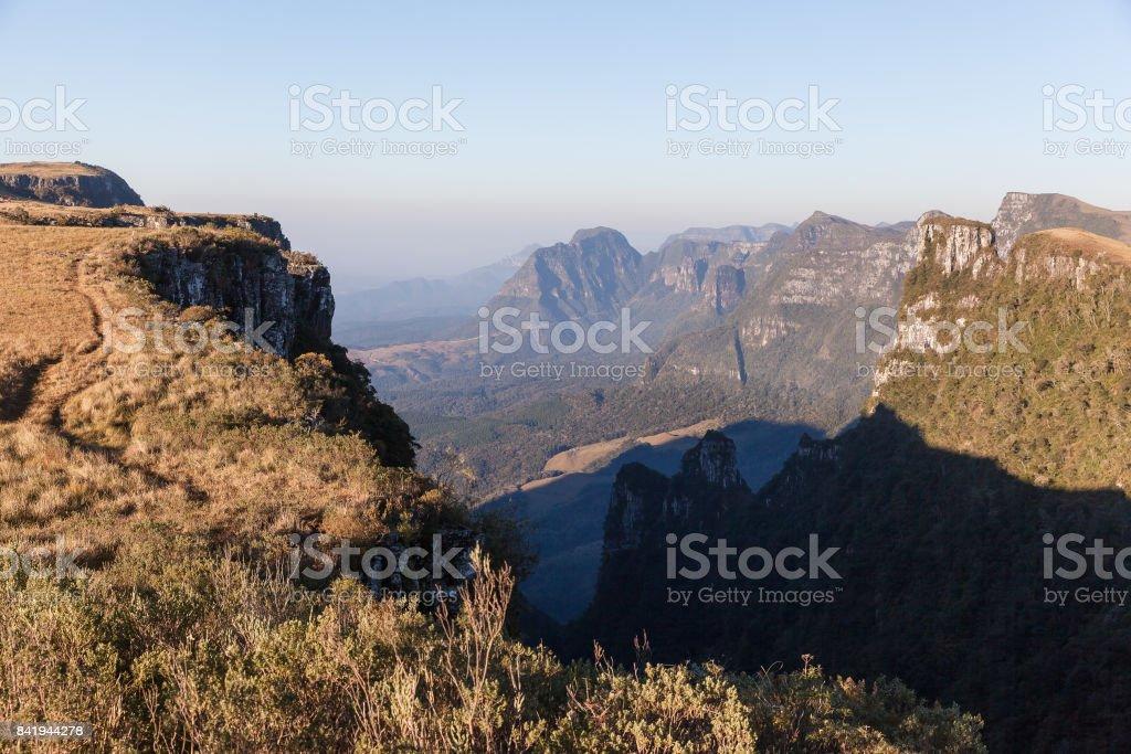 Aerial view of Espraiado Canyon, Urubici, SC, Brazil stock photo
