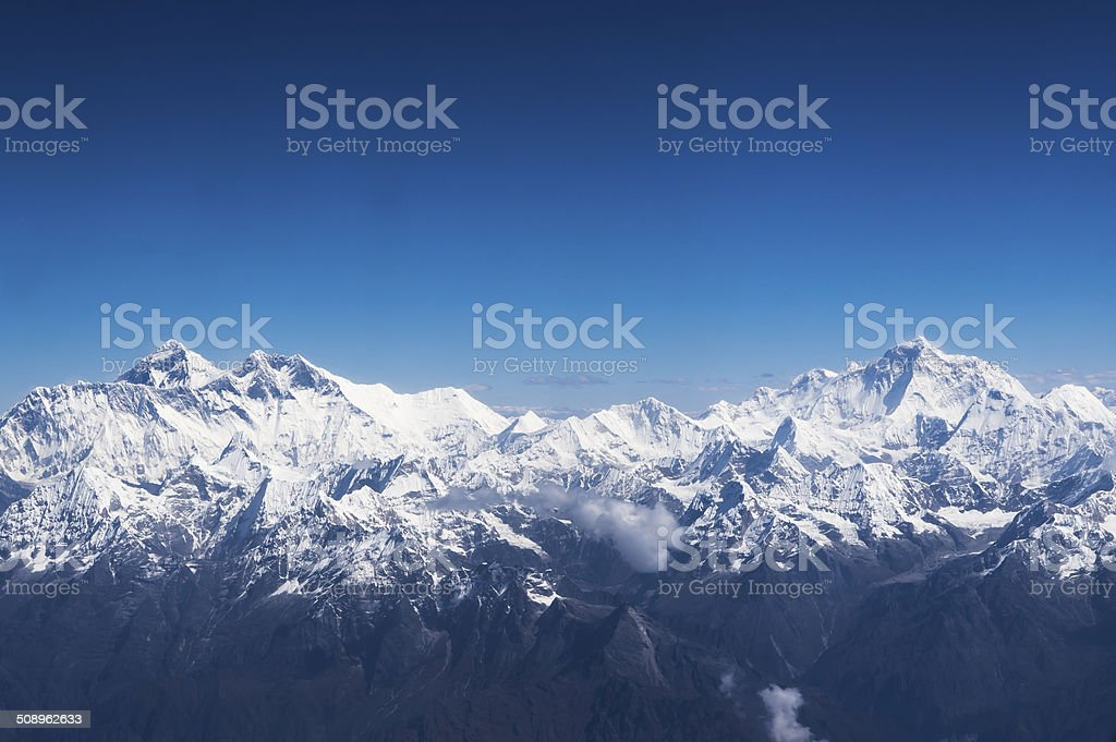 Aerial view of Everest and Makalu stock photo