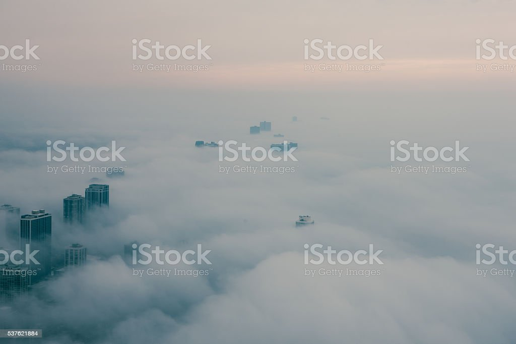 Aerial view of extremely foggy day in Chicago stock photo
