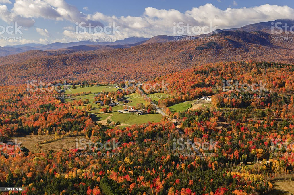 Aerial view of fall foliage in Stowe, Vermont stock photo
