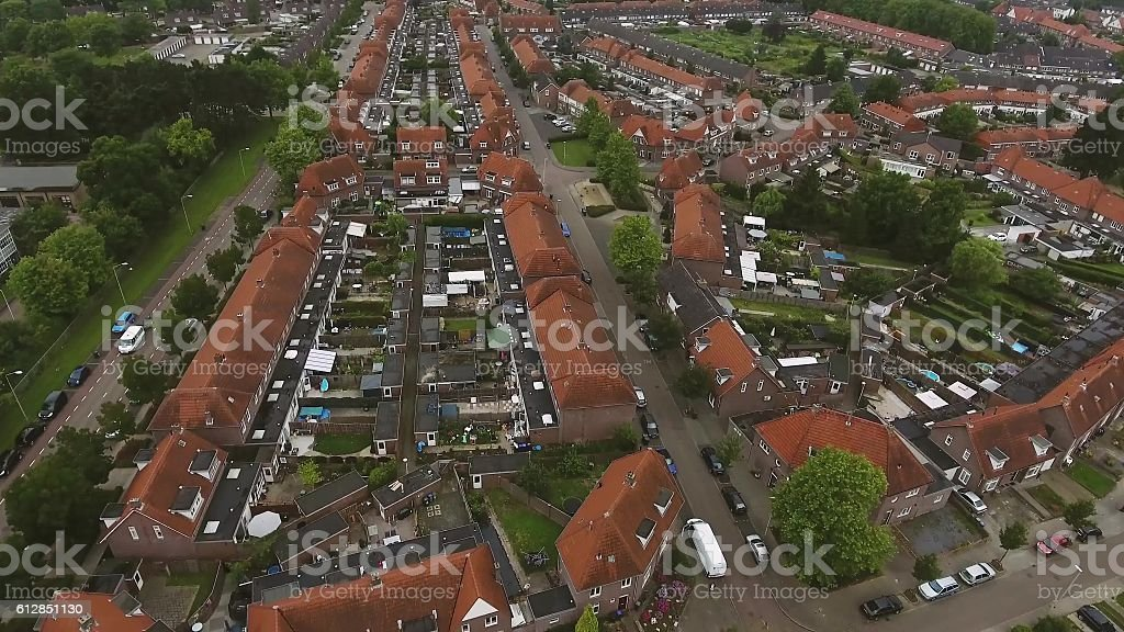 Aerial view of family houses of Dutch town stock photo