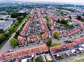 Aerial view of family houses of Dutch town