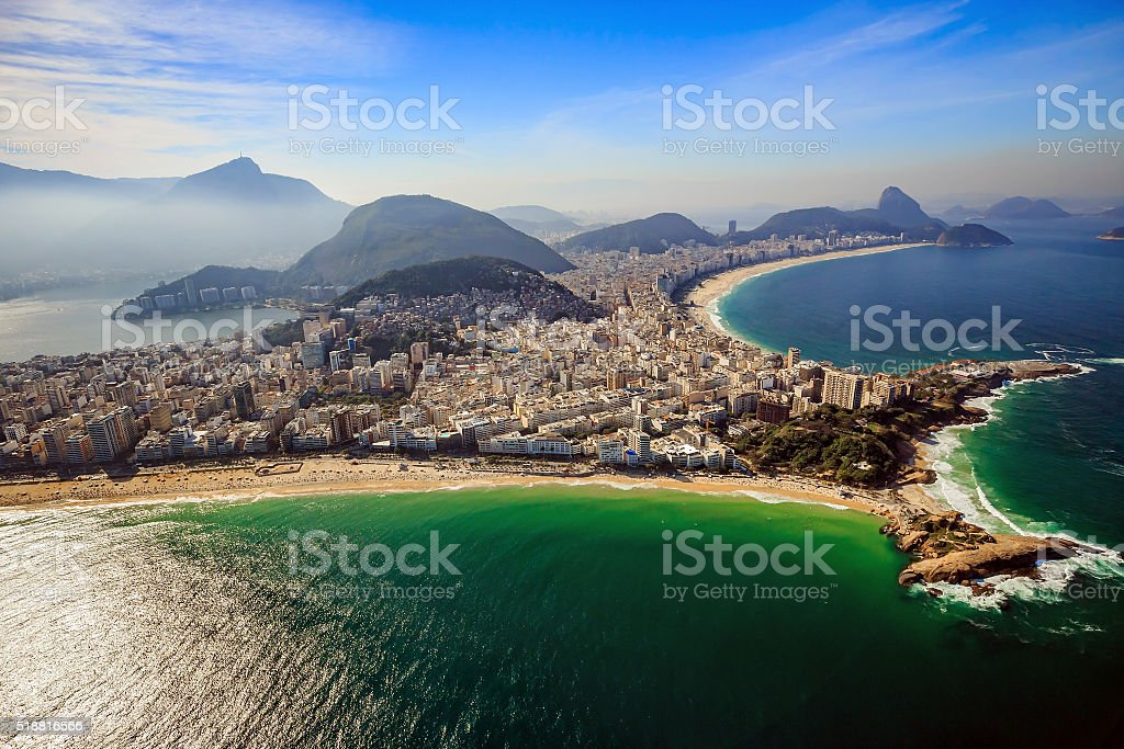 Aerial view of famous Copacabana Beach stock photo