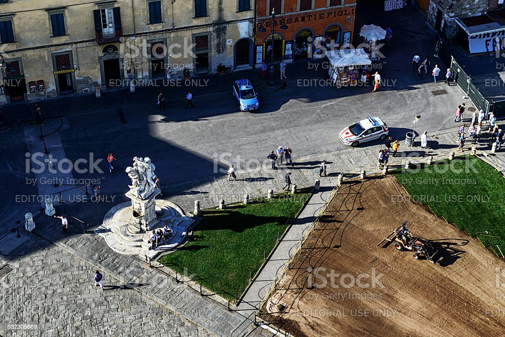 Aerial view of famous fountain in Pisa stock photo