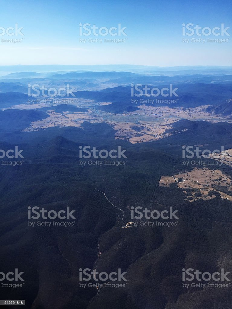 Aerial View of Farm and Forest Land in Australia stock photo