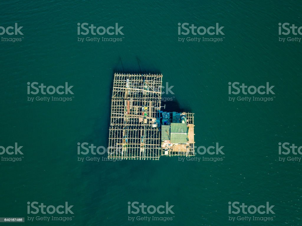 Aerial View of Farm on Cultivation of Seashells stock photo