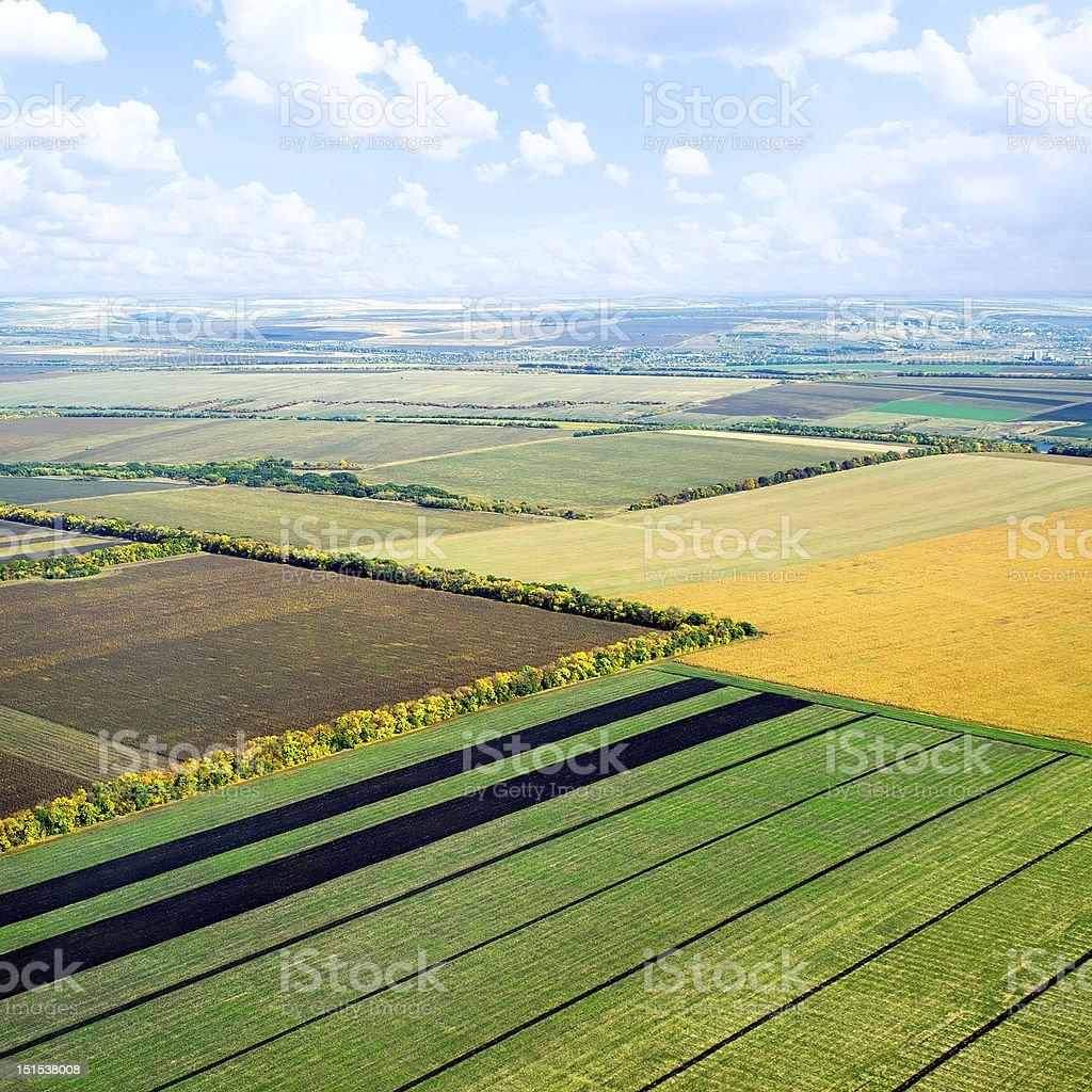 Aerial view of farmland field pattern stock photo