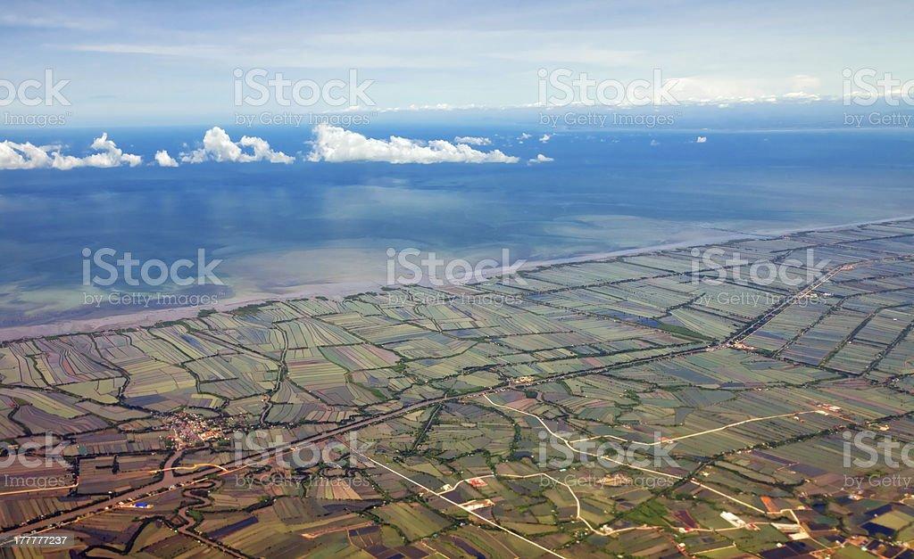 Aerial view of farmland stock photo