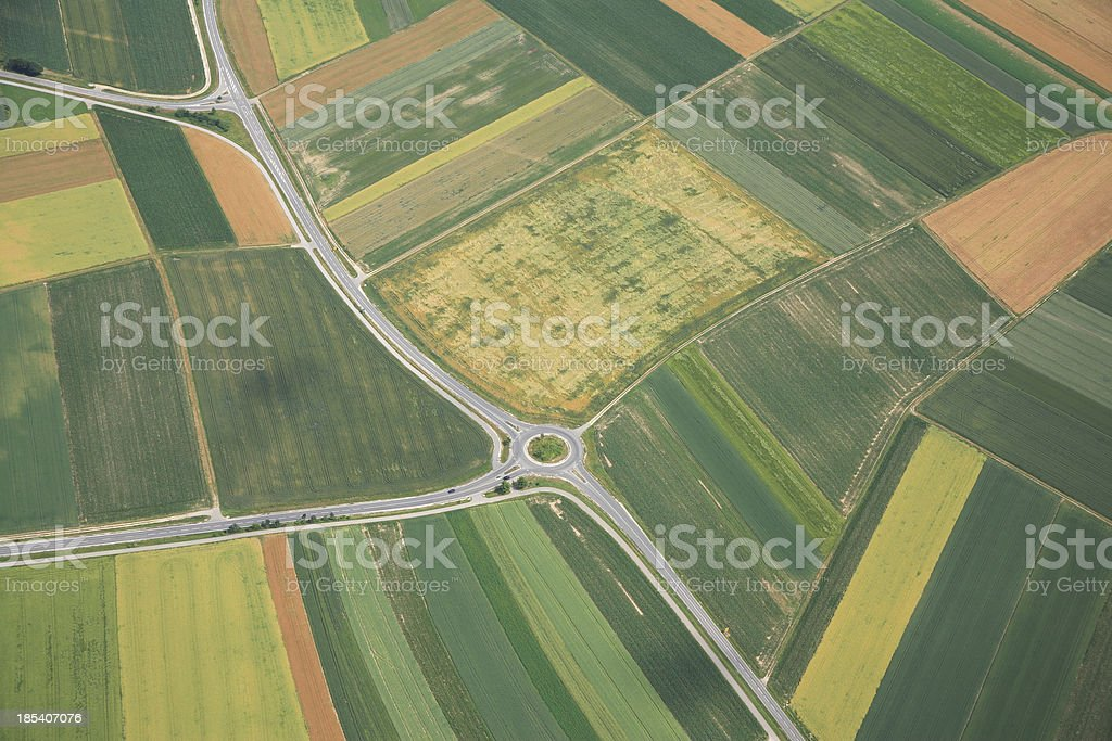 Aerial View of Farmland, Roads and Traffic Circle royalty-free stock photo