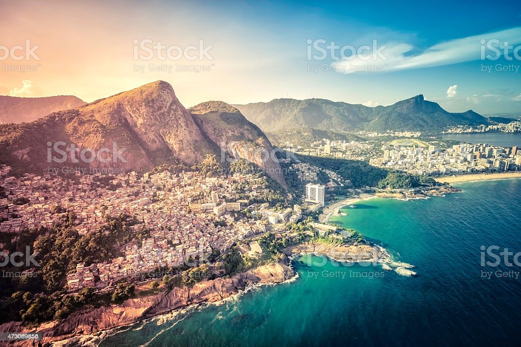 Aerial view of Favela Vigidal on the slopes stock photo