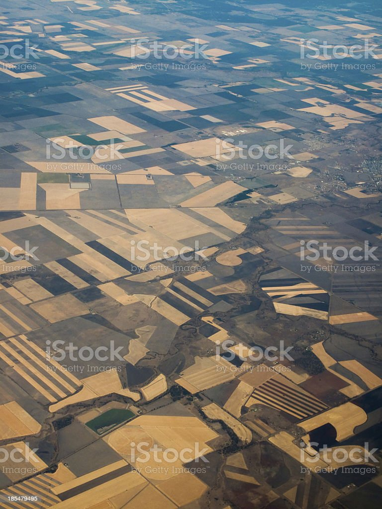 Aerial View of Fertile Fields in Queensland, AU royalty-free stock photo