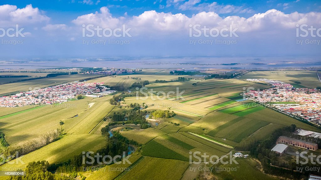 Aerial view of fields and canal towards Songhua River, Harbin stock photo