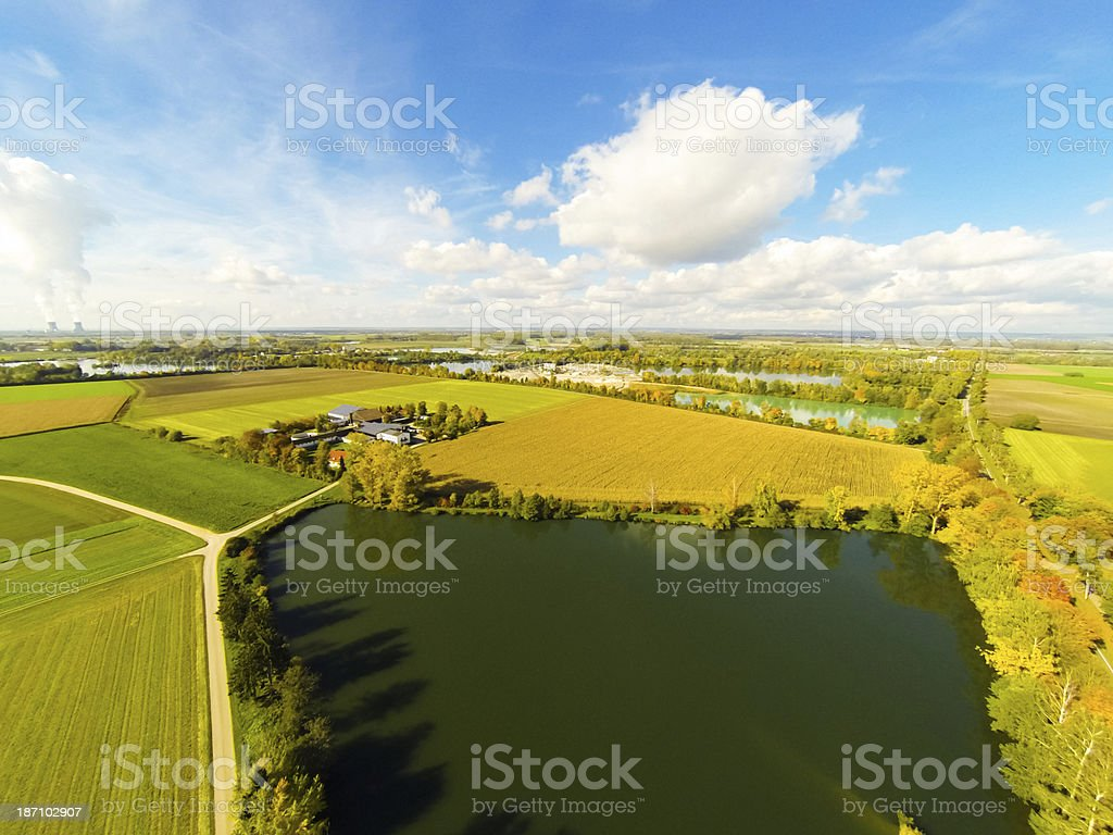 aerial view of fields and lakes stock photo