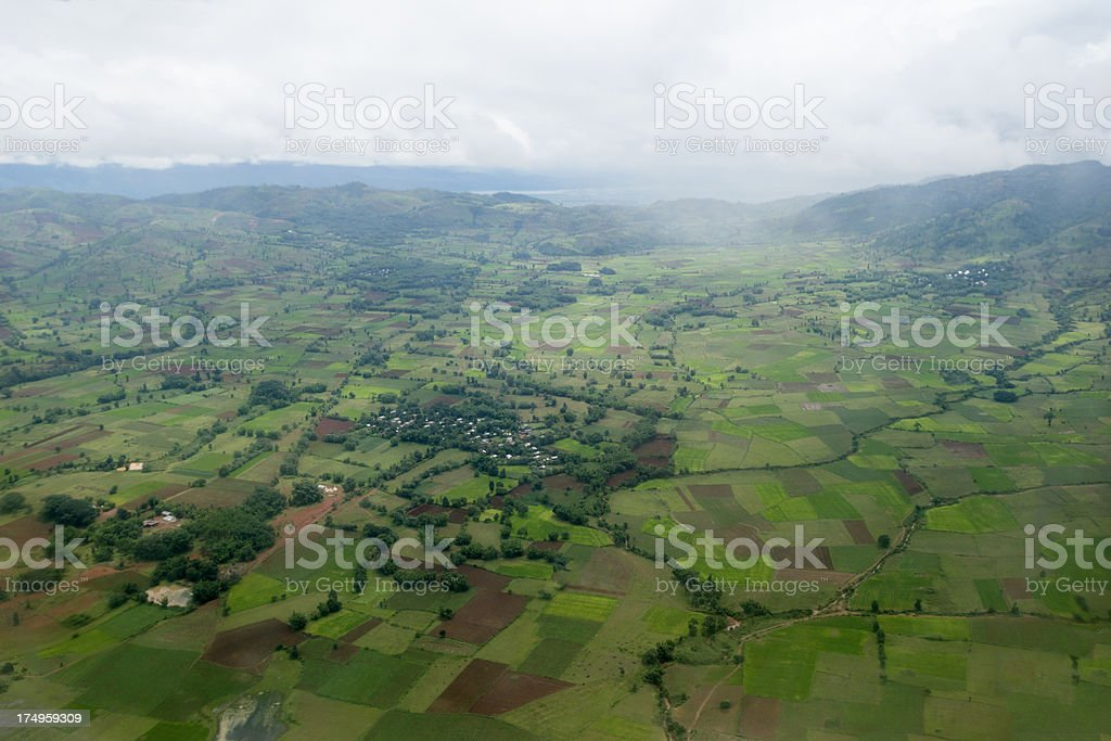 Aerial view of fields and villages in Myanmar. royalty-free stock photo