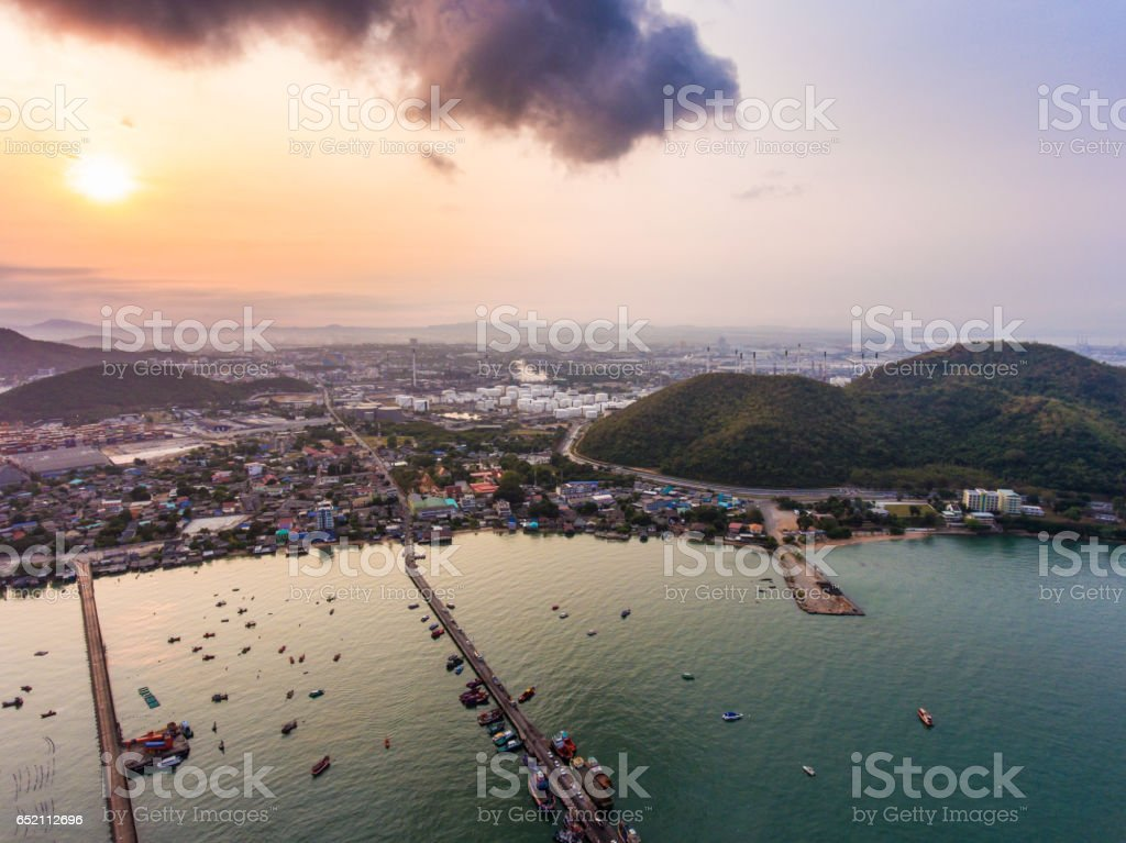 Aerial view of fisherman bay and tranquil sea in the morning stock photo