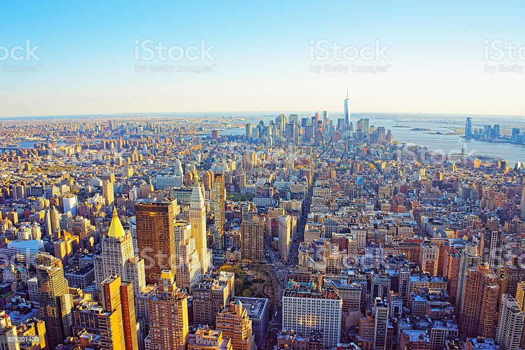 Aerial view of Flatiron district of New York stock photo