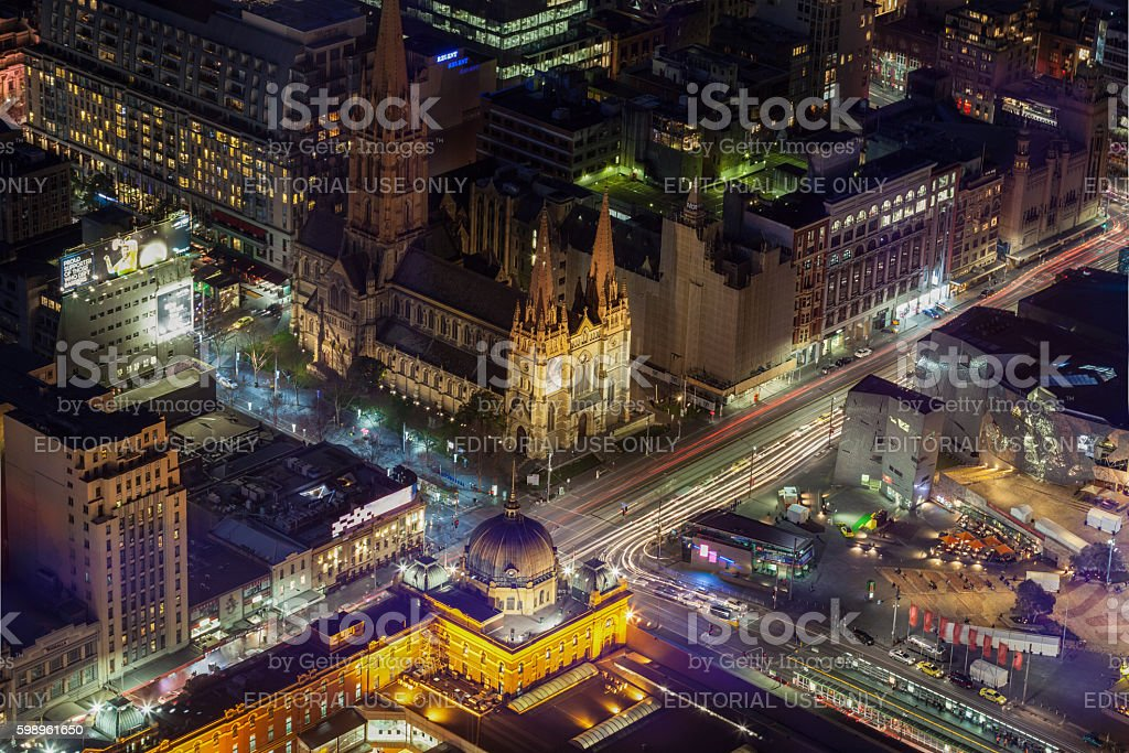 Aerial view of Flinders Street Station and St. Pauls Cathedral stock photo