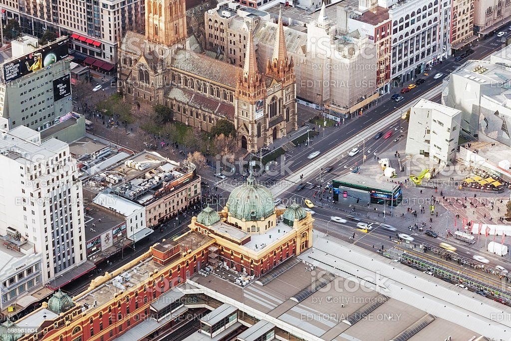 Aerial view of Flinders Street train station and Cathedral stock photo
