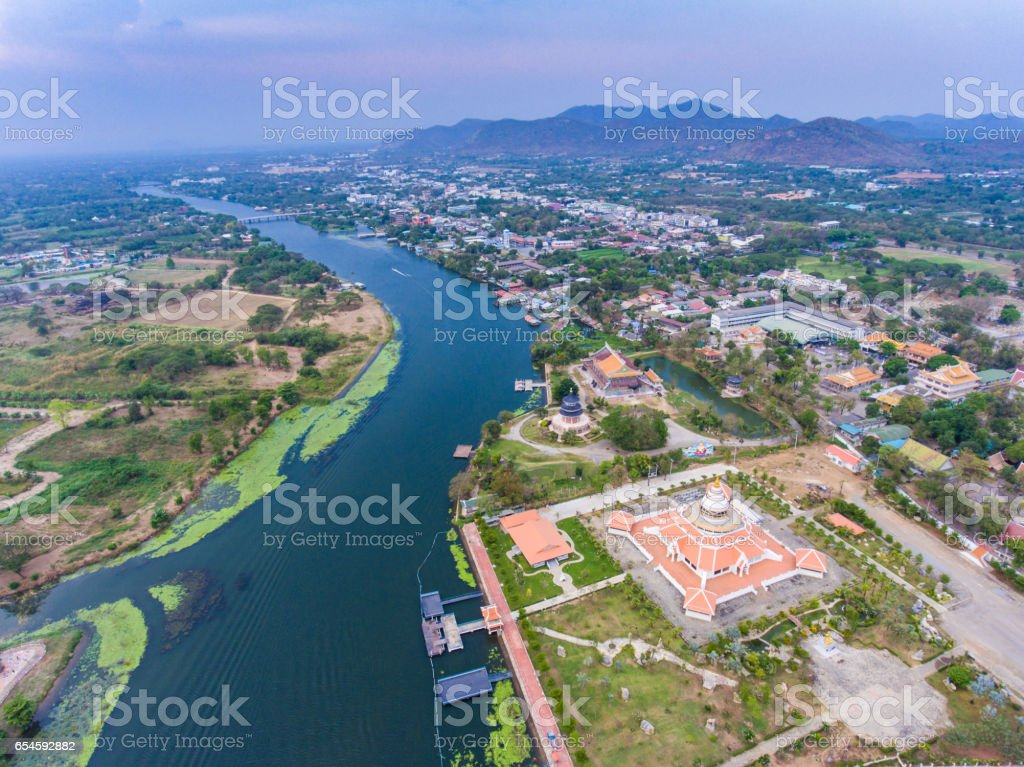 Aerial view of floating house on mount of river stock photo