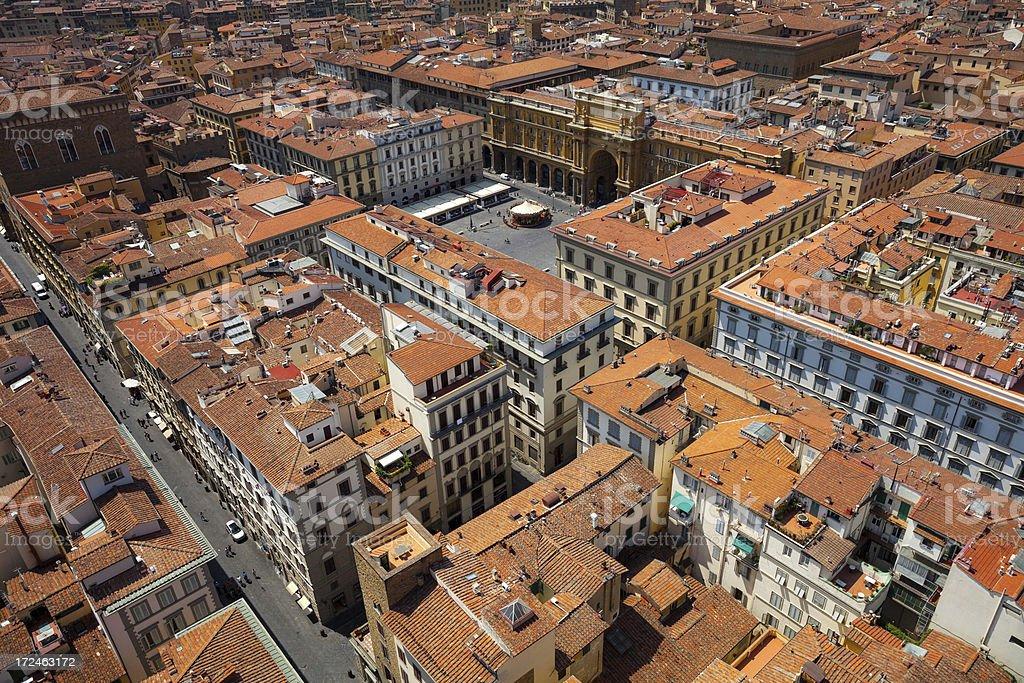 Aerial view of Florence, Piazza della Republica stock photo
