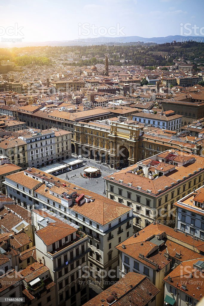 Aerial view of Florence, Piazza della Republica royalty-free stock photo