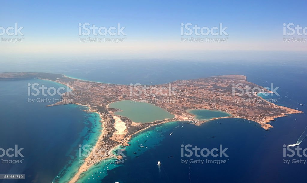 Aerial view of Formentera. stock photo