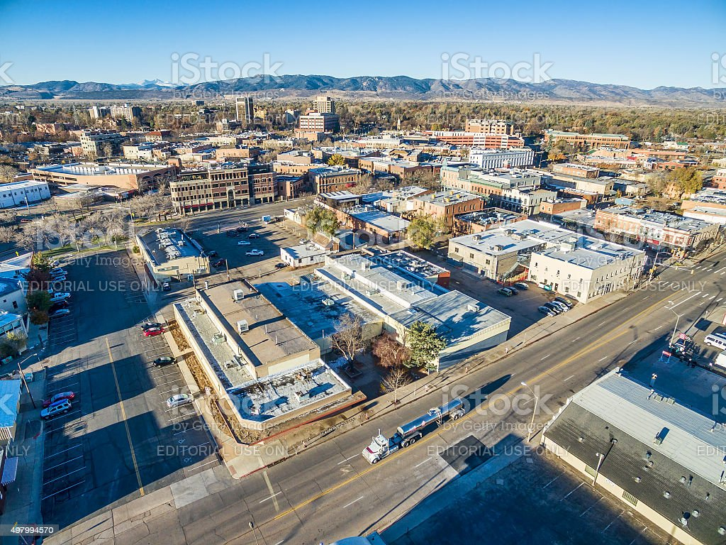 Aerial view of Fort Collins downtown stock photo