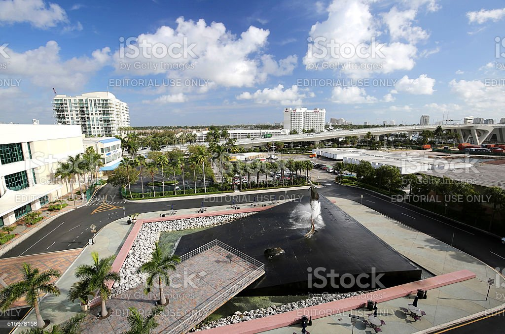 Aerial view of Fort Lauderdale Convention Center and Port Everglades, stock photo