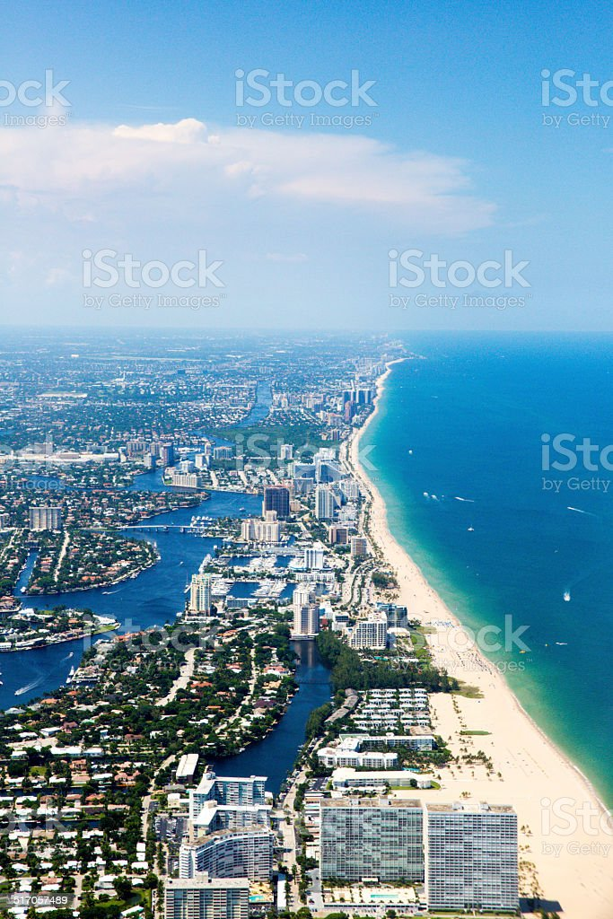 Aerial view of Fort Lauderdale, Florida coastline  rm stock photo