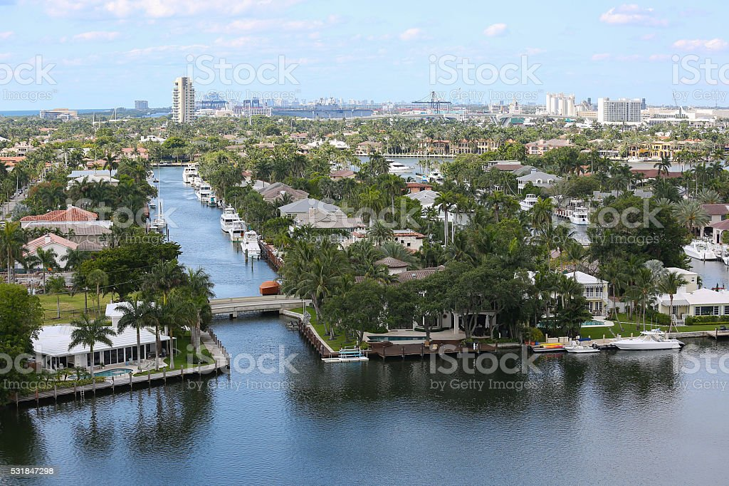 Aerial view of Fort Lauderdale's Intracoastal waterway and skyline stock photo