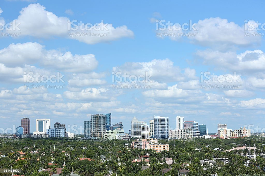 Aerial view of Fort Lauderdale's skyline and surrounding waterfront homes stock photo