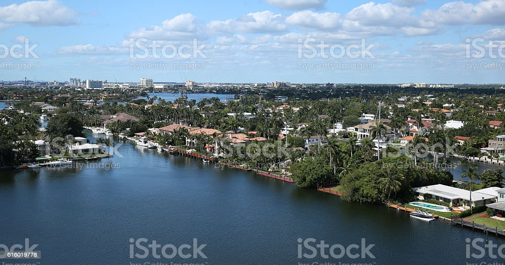Aerial view of Fort Lauderdale's skyline and waterway canals stock photo