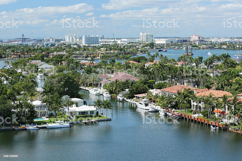 Aerial view of Fort Lauderdale's skyline stock photo