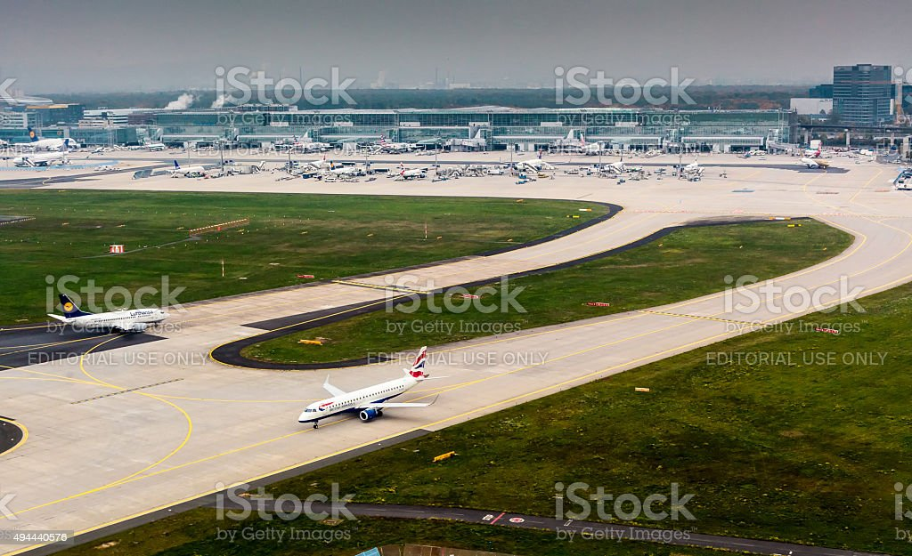 Aerial View of Frankfurt Airport stock photo
