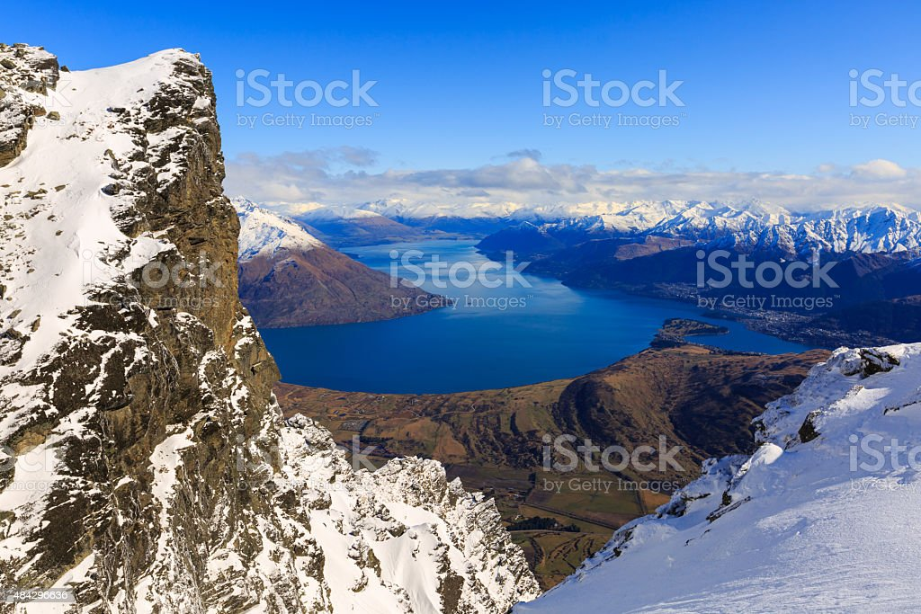 aerial view of Frankton and Lake WakatipuQueenstown, New Zealand stock photo