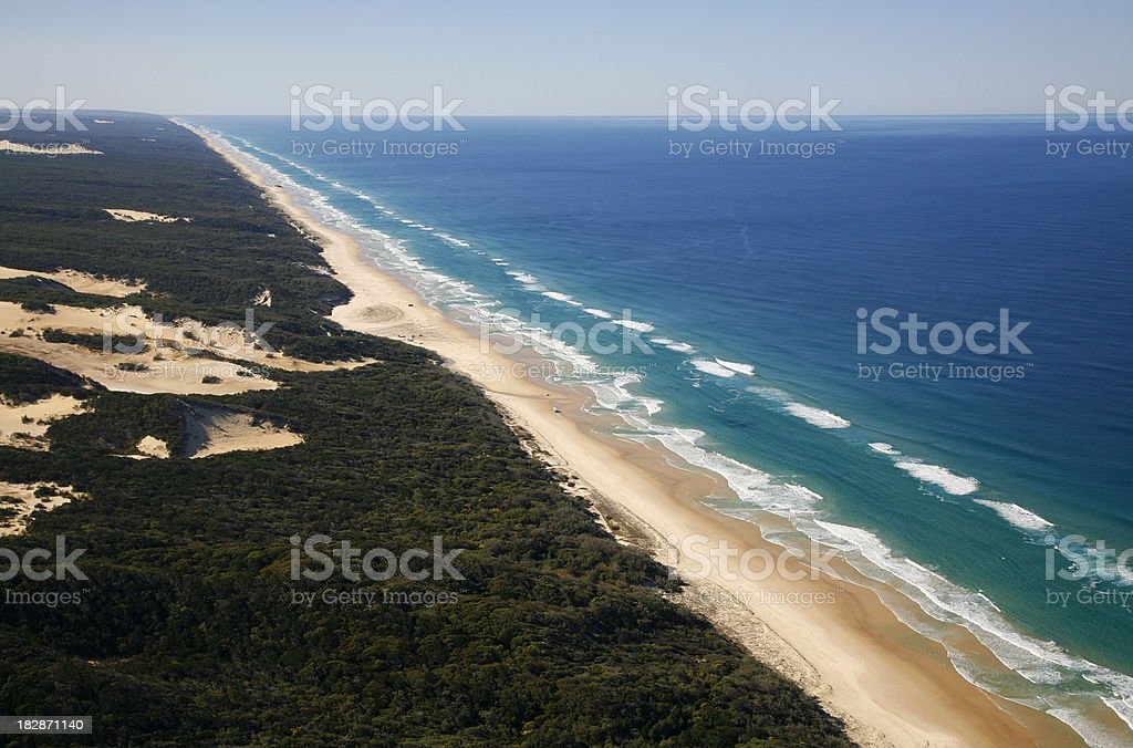 Aerial view of Fraser Island coast royalty-free stock photo