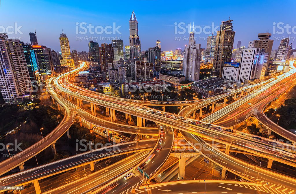 Aerial view of freeway. stock photo