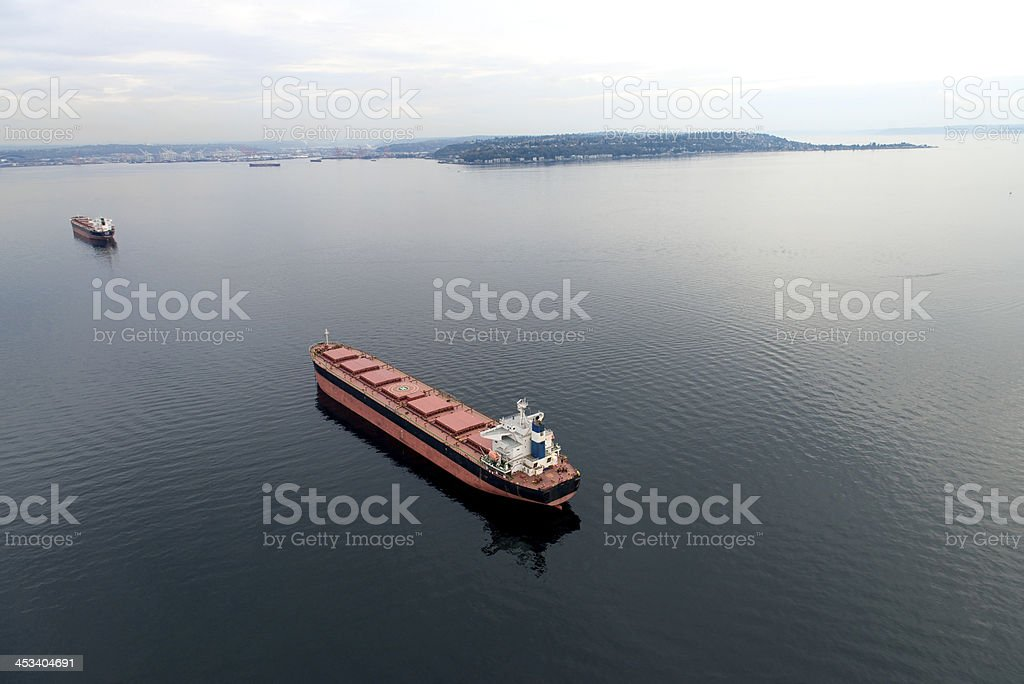 Aerial view of freight stop in the bay stock photo