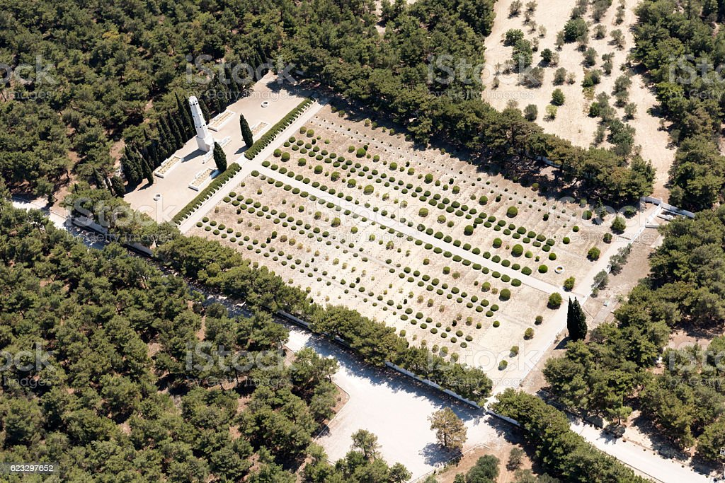 Aerial View of French Cemetery in Gallipoli, Canakkale Turkey stock photo