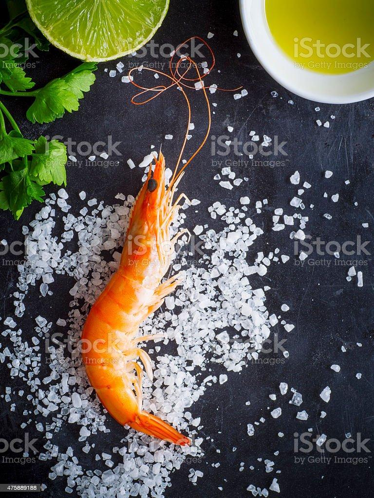Aerial view of fresh shrimp stock photo