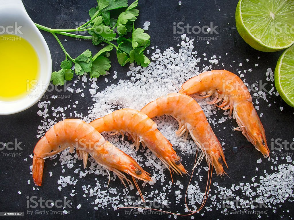 Aerial view of fresh shrimps stock photo