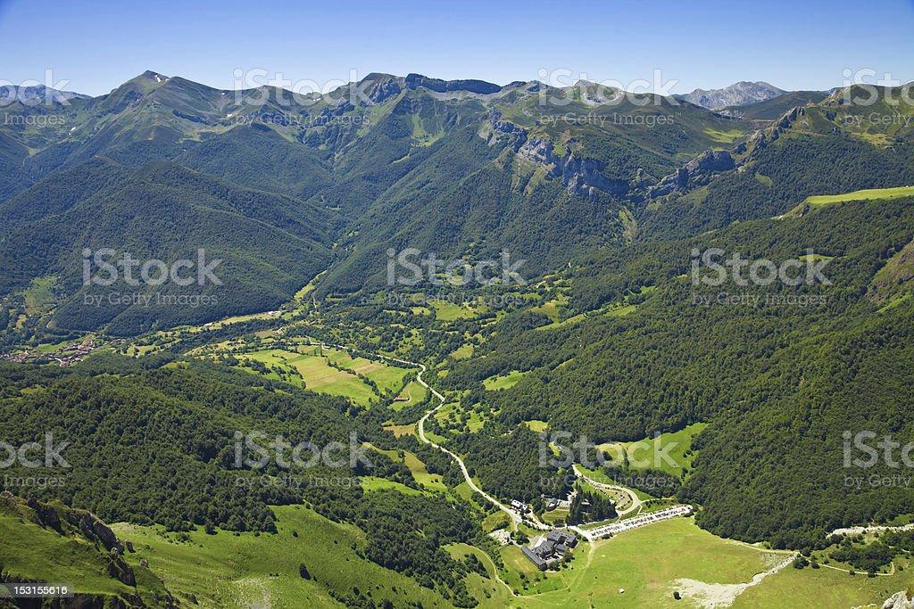 Aerial view of Fuente D? valley. Picos de Europa, Spain stock photo