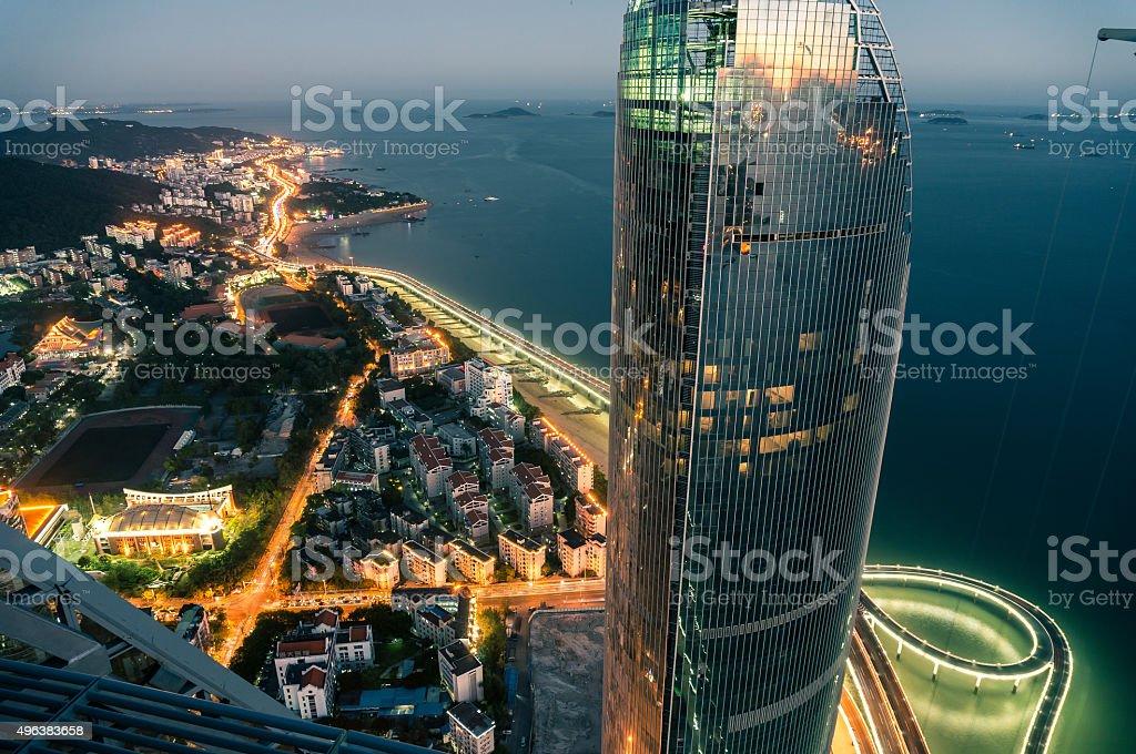 Aerial view of FuJian Xiamen landmark architecture&Yan Wu bridge stock photo