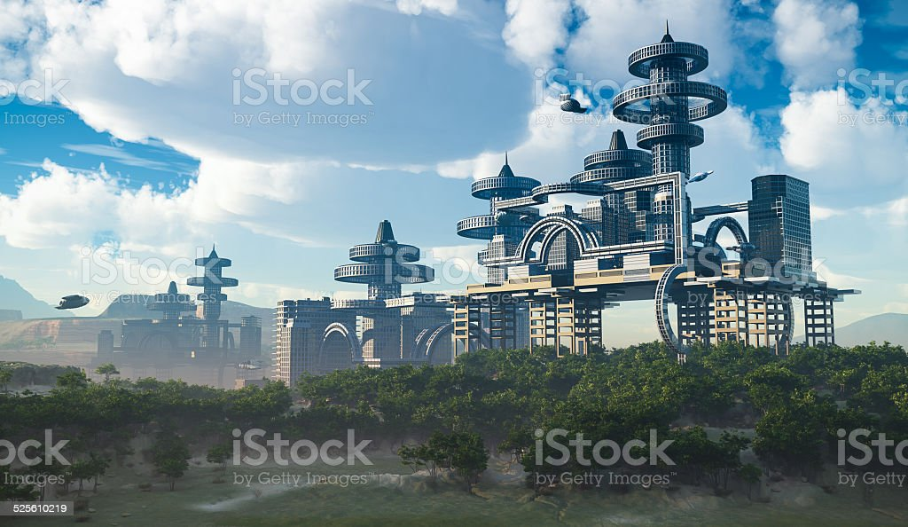 aerial view of Futuristic City concept stock photo