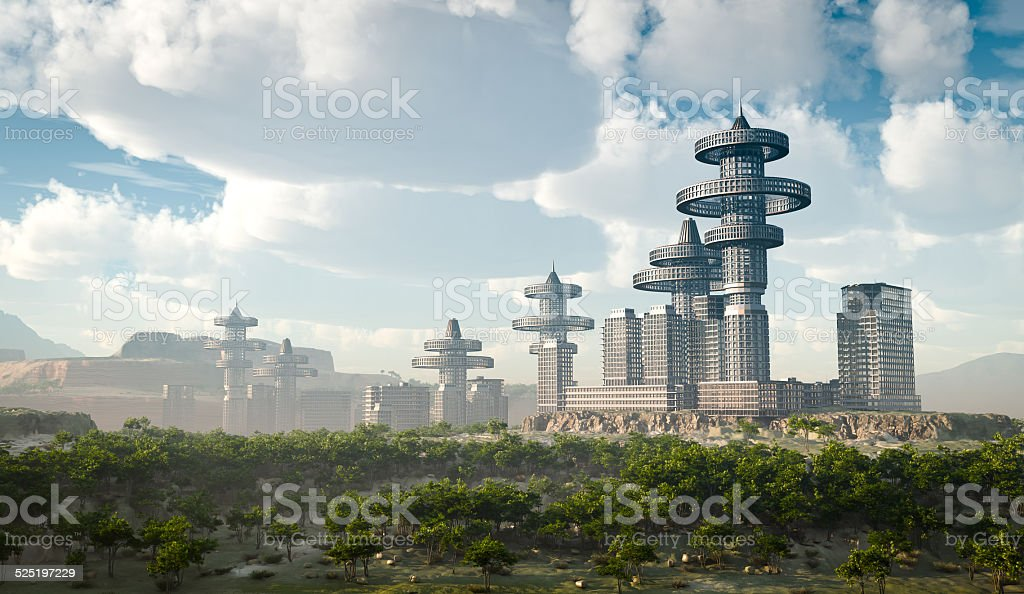 aerial view of Futuristic City vector art illustration