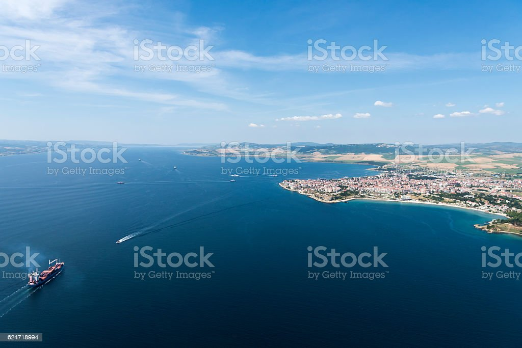 Aerial view of Gallipoli, Canakkale, Turkey stock photo