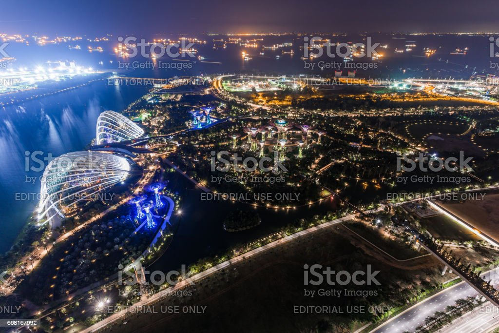 aerial view of Garden by the Bay stock photo