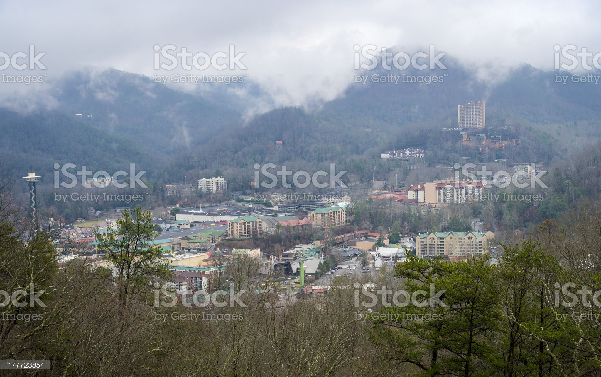 Aerial view of Gatlinburg in Winter royalty-free stock photo