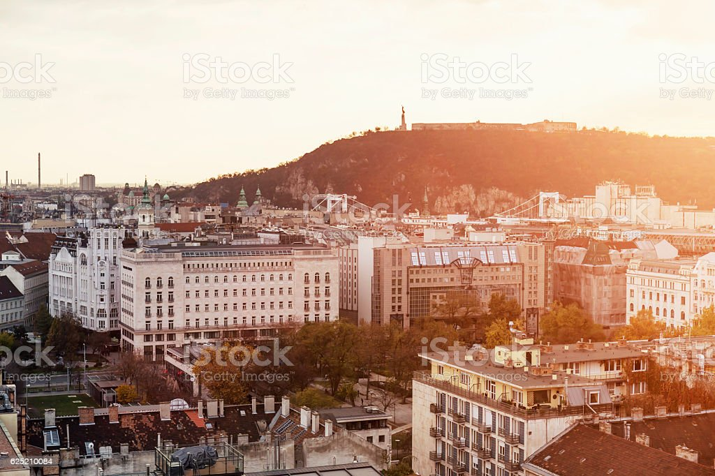Aerial view of Gellert Hill and Deak Square in Budapest stock photo