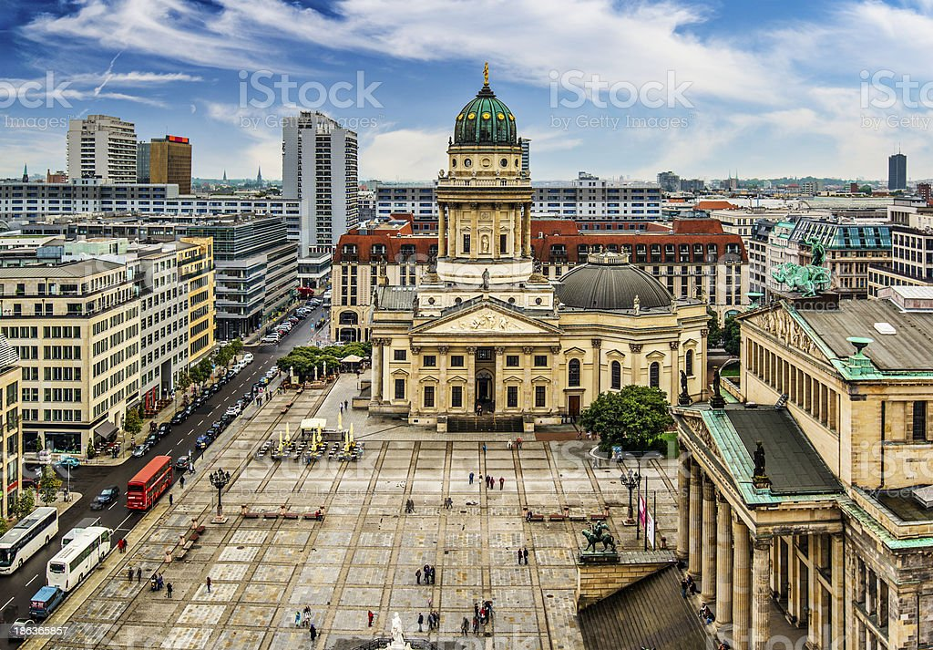 Aerial view of Gendarmenmarkt Square in Berlin on clear day stock photo